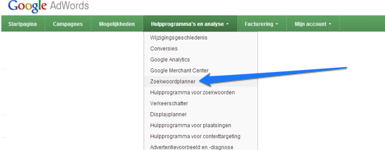 google keyword tool header