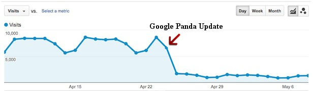 Screenshot van Google Analytics na Google Panda update