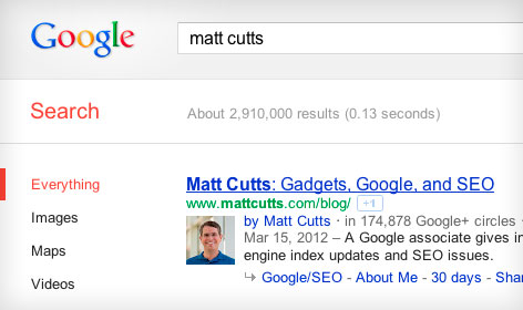 auteur foto in Google van Matt Cutts