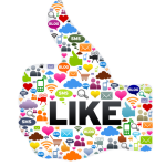 alle social media iconen in de vorm van een facebook like knop