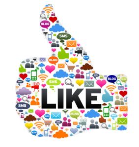 alle social media iconen in de vorm van een facebook like knop