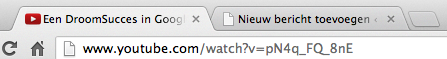 de URL van een YouTube filmpje