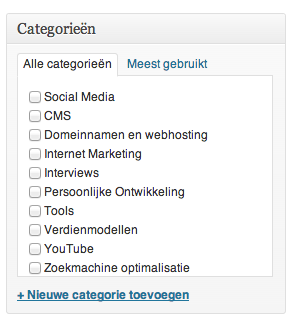 Een categorie kiezen in WordPress