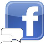 Het logo van Facebook met een praatwolkje