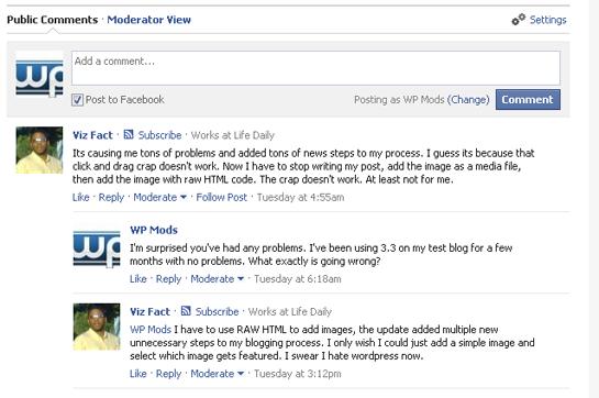 Een voorbeeld van Facebook reacties op WordPress website