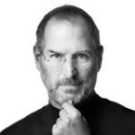 Een zwart wit foto van Steve Jobs