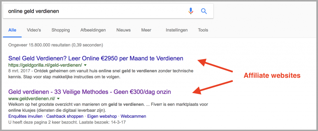 voorbeelden affiliate websites