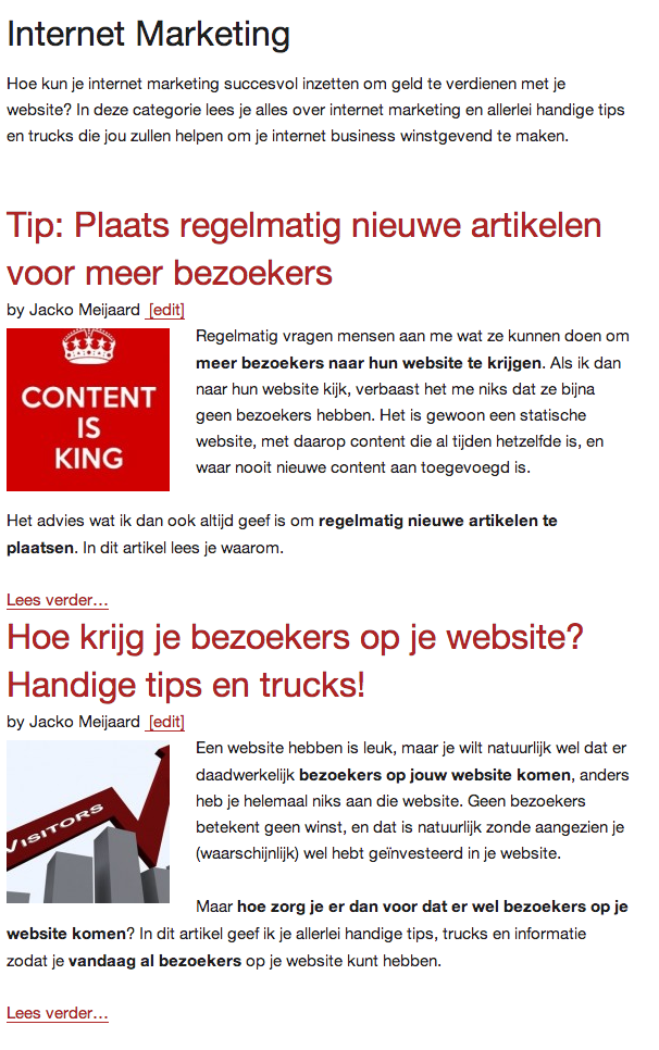 De categorie 'Internet Marketing' op DroomSucces.nl
