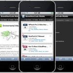Een afbeelding van een WordPress mobiele site op een iPhone