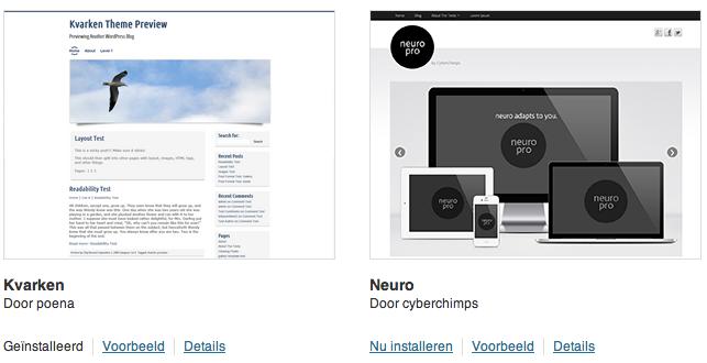 Een WordPress thema installeren is erg eenvoudig uit de Theme Directory