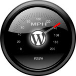 een icoon van WordPress met een snelheidmeter