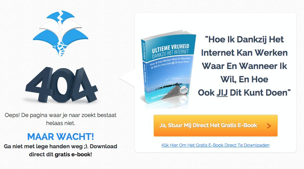 404 pagina die is gemaakt met LeadPages