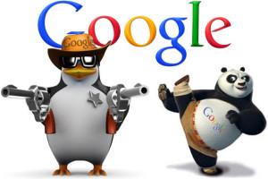 De welbekende Google Panda en Penguin mascottes