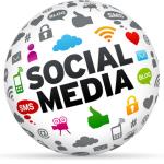 Een social media wereldbol met alle netwerken er op