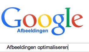 Het logo van Google Afbeeldignen en het zoekwoord 'Afbeeldingen optimaliseren'