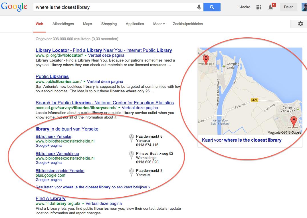 zoekresultaten in Google Hummingbird