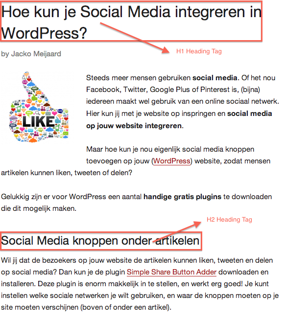 heading tags op internet succes gids.nl
