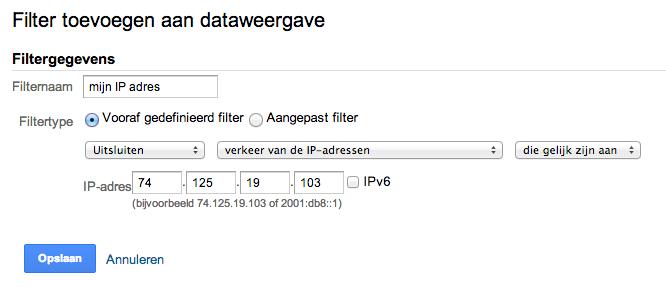 Je eigen ip adres uitsluiten in Google Analytics