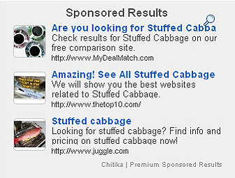 een voorbeeld van hoe Chitika advertenties er uit zien