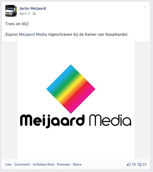 Een Facebook bericht van Jacko met betrekking tot de oprichting van Meijaard Media