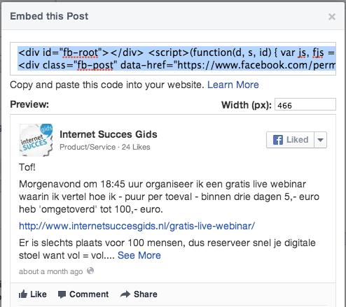De Facebook embed code om een bericht in te sluiten.
