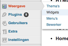 De WordPress widgets in de WordPress admin