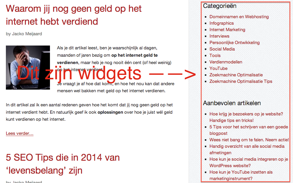 wordpress widgets op internetsuccesgids.nl
