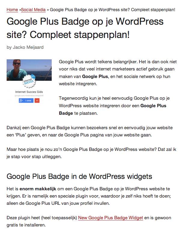 Een artikel op Internet Succes Gids.nl