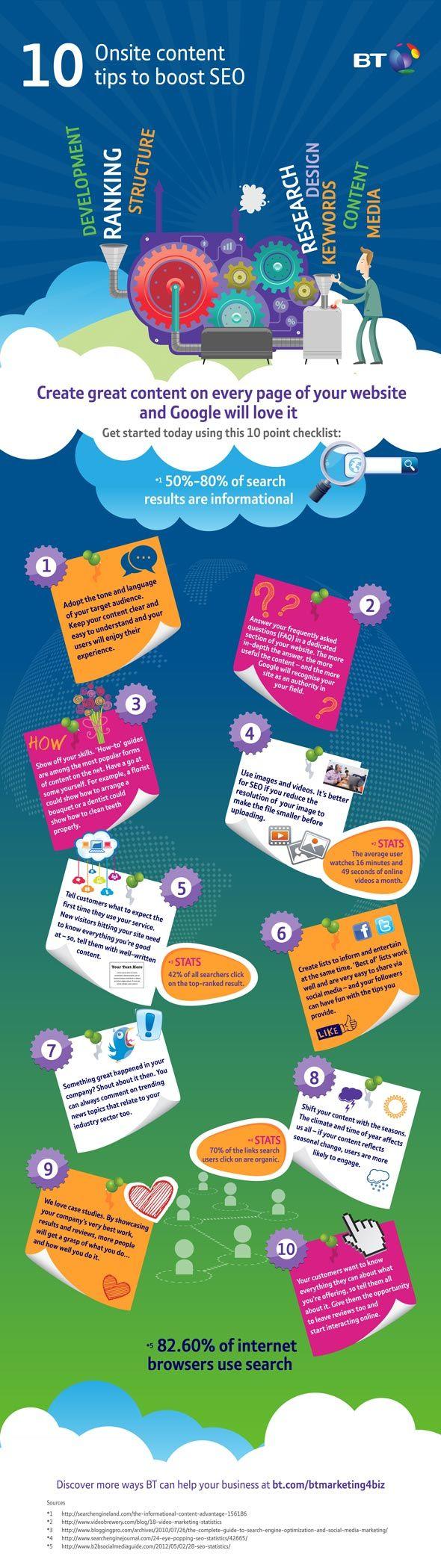 Infographic met 10 on-site SEO tips waar Google van houdt.