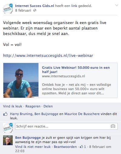 Een Facebook post van de Internet Succes Gids.nl Facebook pagina
