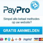 Het logo van PayPro en direct aanmelden