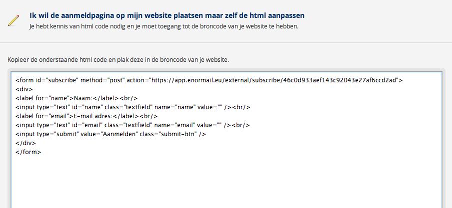 De opt-in HTML code voor mijn mailinglijst in Enormail