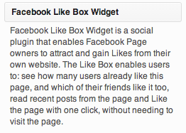 De Facebook like box widget in de WordPress widgets