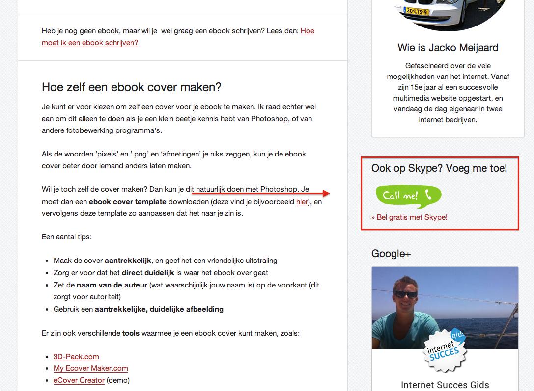Skype widget op internet succes gids.nl