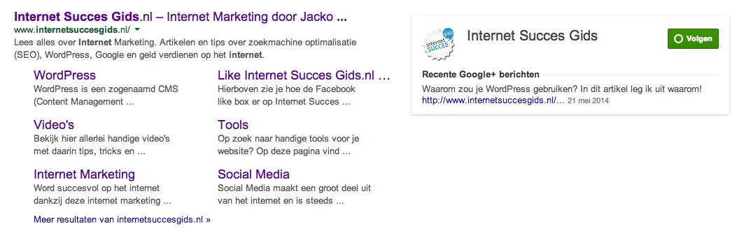 Google Plus pagina verschijnt in Google