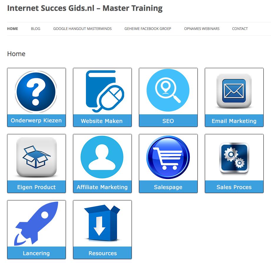 Hierboven zie je hoe ik het Twenty Twelve thema gebruik voor de membership site van de Internet Succes Gids.nl - Master Training