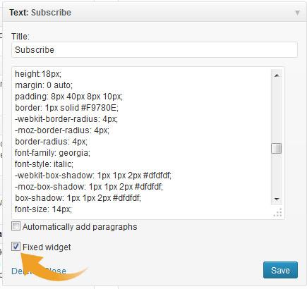 Klik op 'Fixed' Widget en je widget zal worden vastgezet.