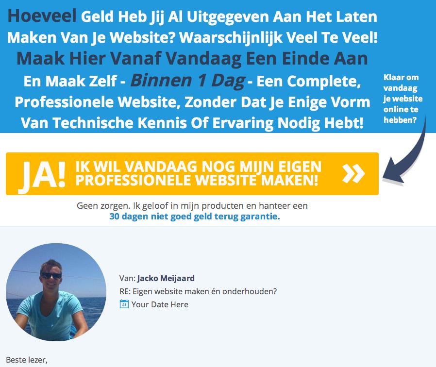 Sales page van de Internet Succes Gids.nl WordPress videotraining