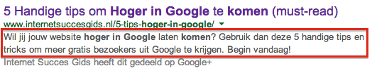 Meta-omschrijving in Google