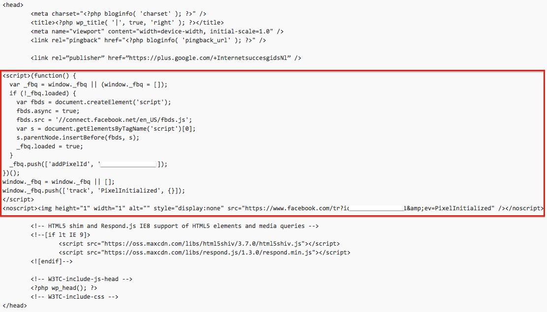 Facebook retargeting pixel tussen de  <head> en </head> tags