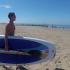 Jacko Meijaard met surfplank
