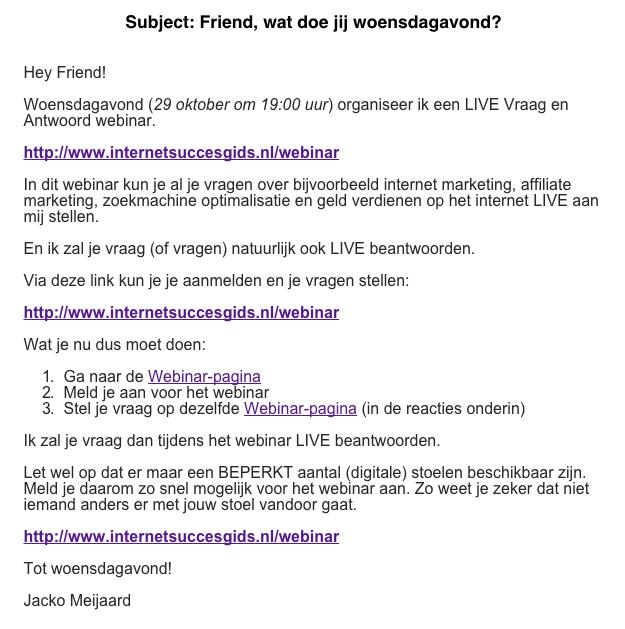 Webinar aankondiging mail