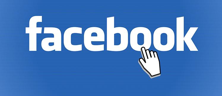 het facebook logo met een muisaanwijzer