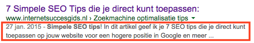 meta omschrijving in google