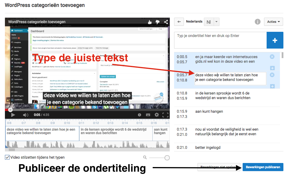 youtube ondertiteling publiceren.
