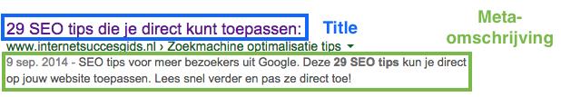 titel en meta-omschrijving in Google