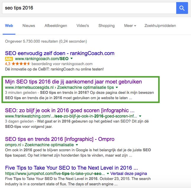 Doordat ik constant bouw aan mijn websites, sta ik negen van de tien keer bovenaan in Google op de zoekwoorden waarop ik gevonden wil worden.