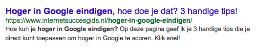 google snippet voorbeeld