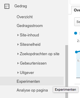 experimenten in google analytics