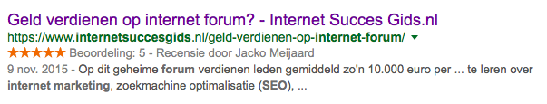recensiesterren in Google - rich snippets